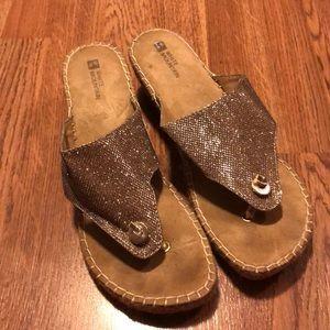 GUC platform sandals.